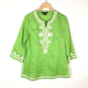 ETCETERA linen Asian inspired novelty blouse top